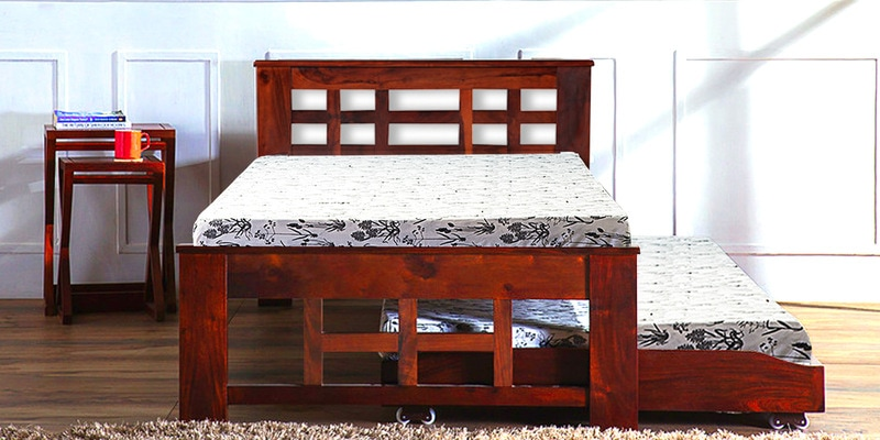 Raliegh Single Bed with Trundle in Honey Oak Finish by Woodsworth