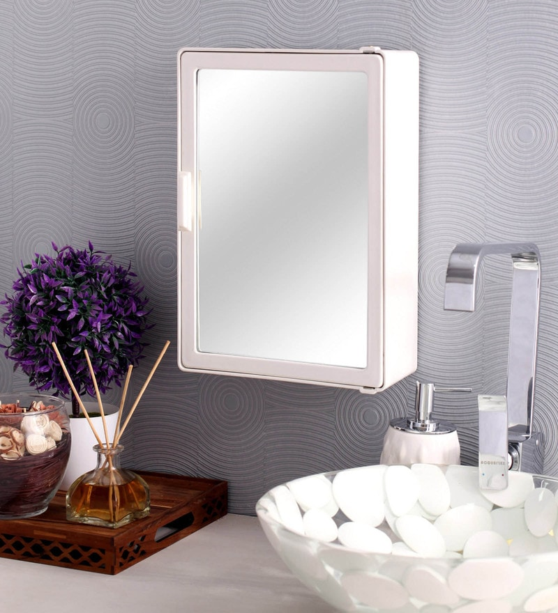 White Plastic Bathroom Cabinet by Zahab