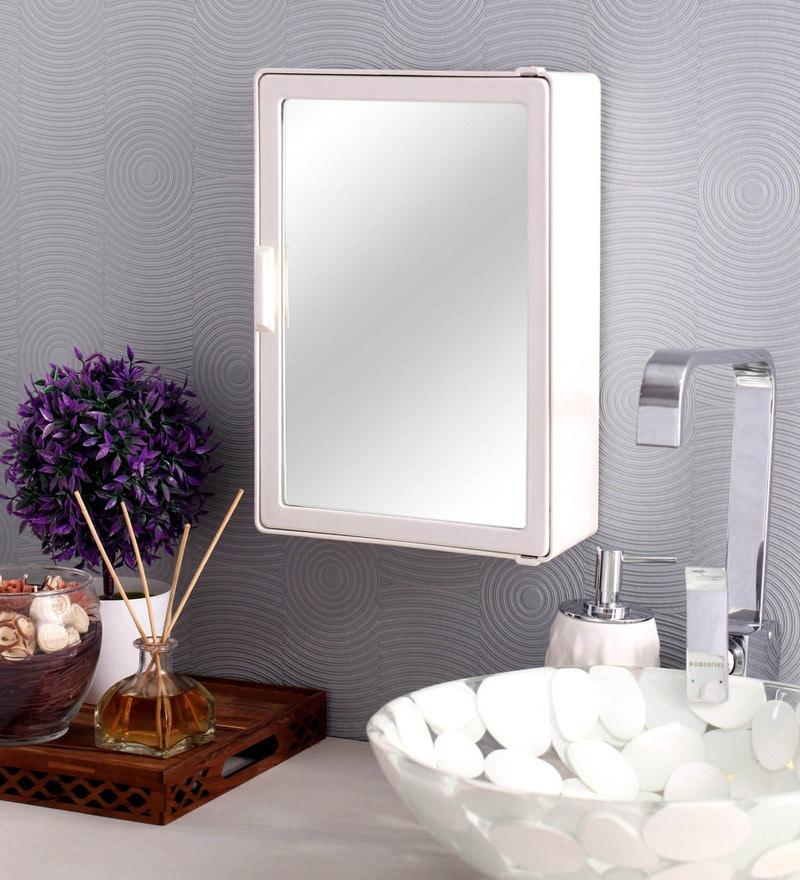 Zahab White Plastic Bathroom Cabinet