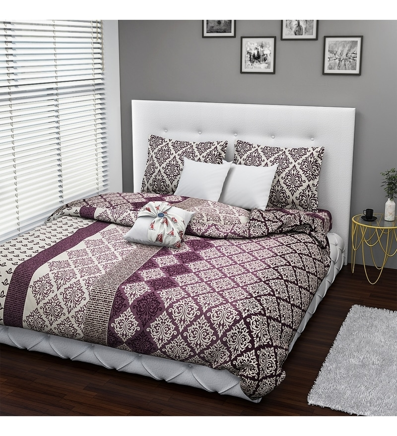Maroon Cotton Queen Size Bed Cover - Set of 3 by Rago