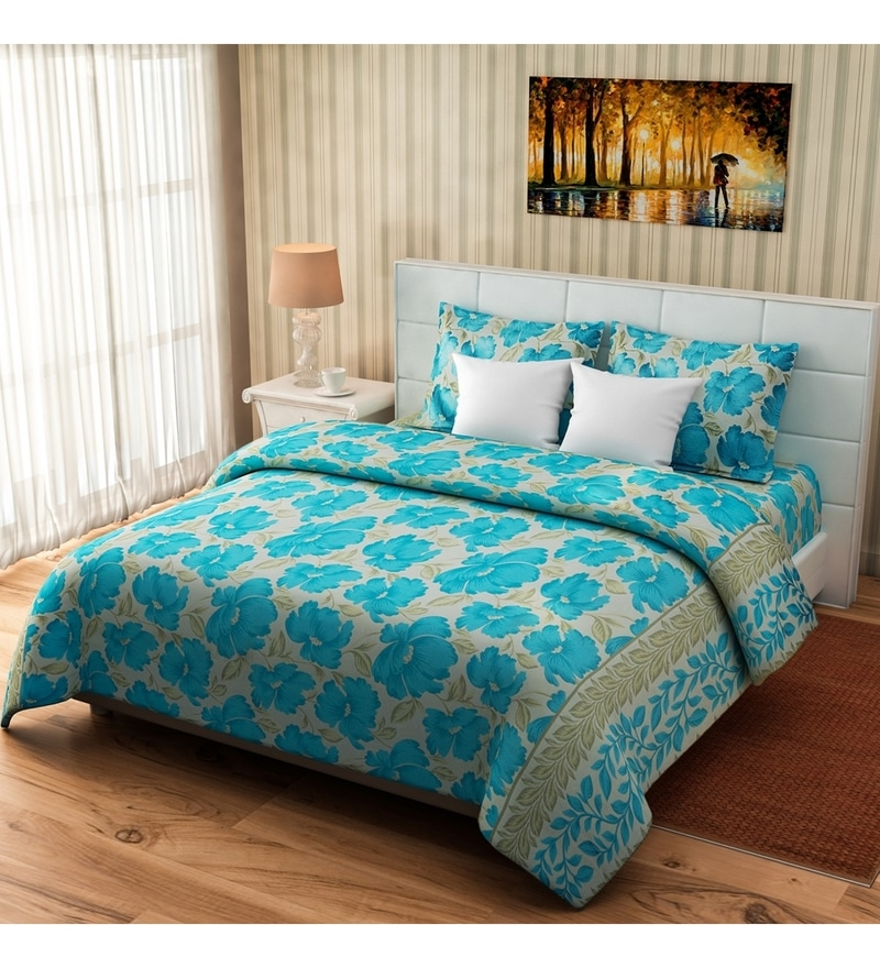 Turquoise Cotton Queen Size Bed Cover - Set of 3 by Rago