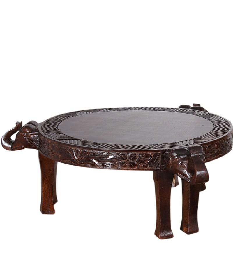 Rajputana Mango Wood Elephant Round Coffee Table By