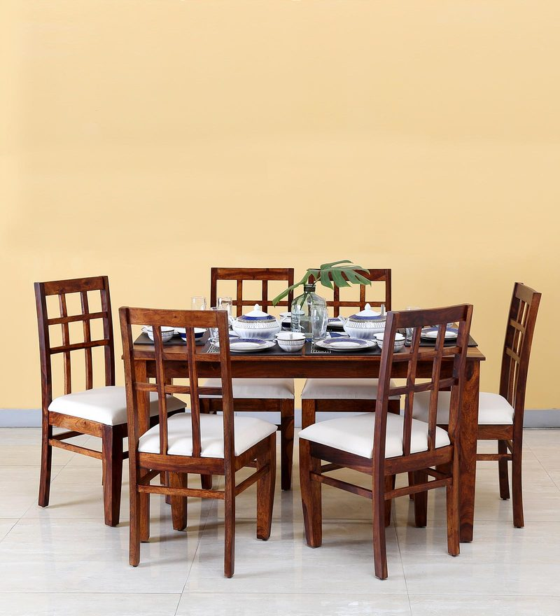 Raliegh Six Seater Dining Set in Honey Oak Finish by Woodsworth