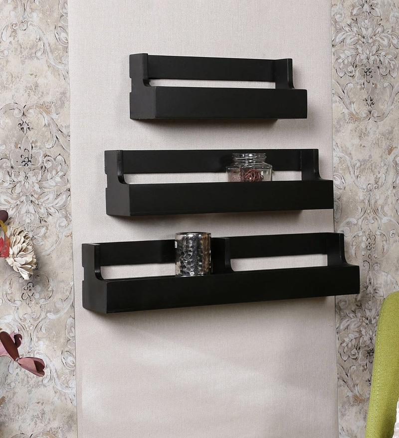 Black Engineered Wood Pocket Shelves - Set of 3 by Home Sparkle