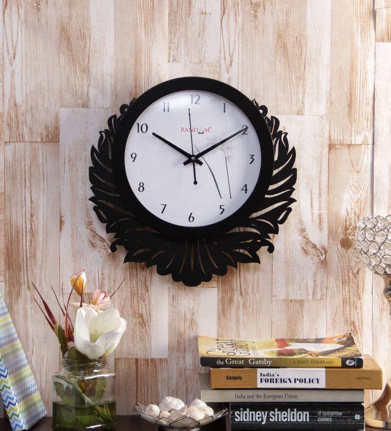 Black & White Wooden Eco Unique Wall Clock by Random
