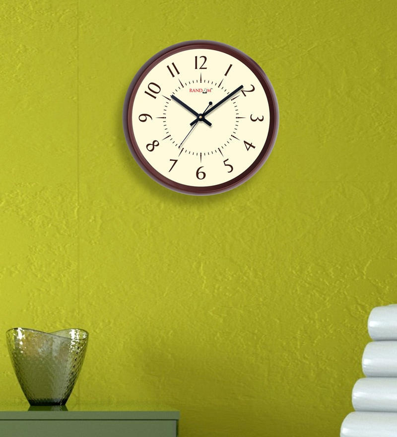 Random Brown Plastic 12 x 2 x 12 Inch Lucky Wall Clock