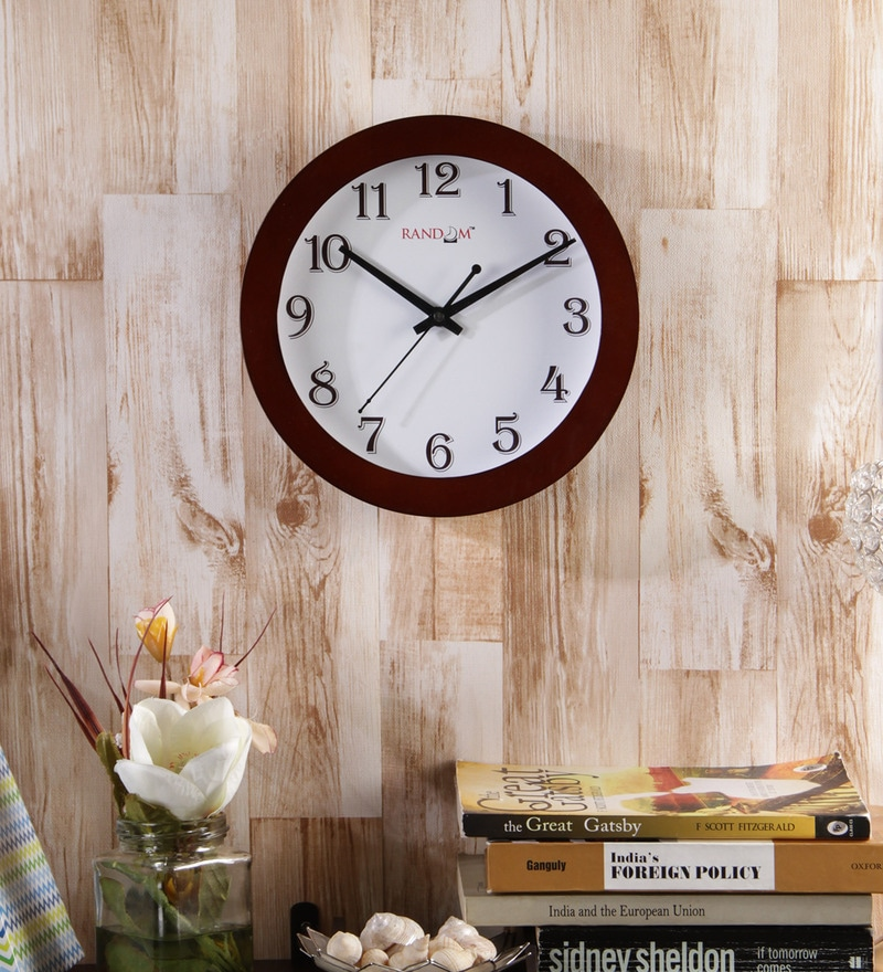 Brown Wooden 9 Inch Round Trendy Sober Wall Clock by Random