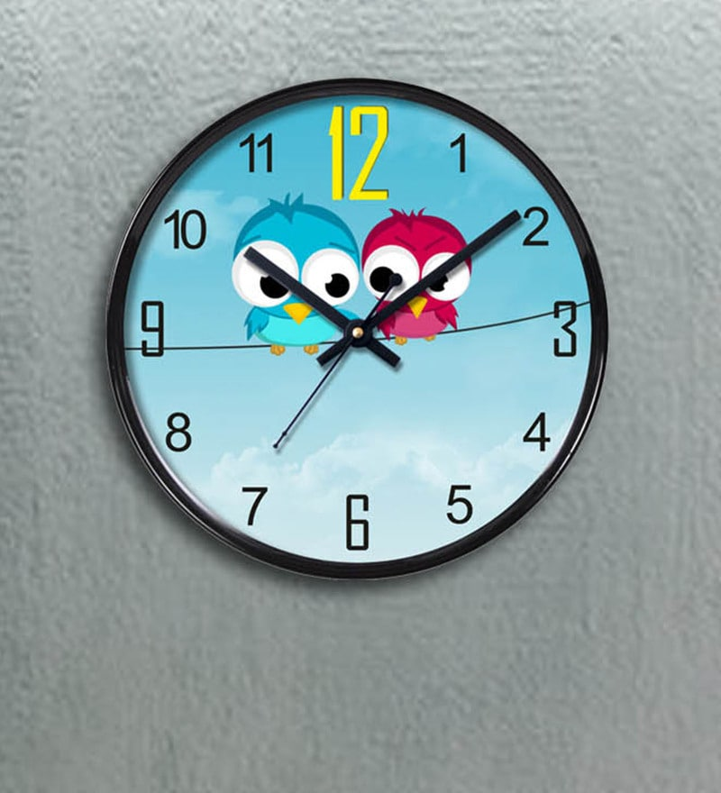 Multicolour Plastic 11 x 2 x 11 Inch Little Birds Wall Clock by Random
