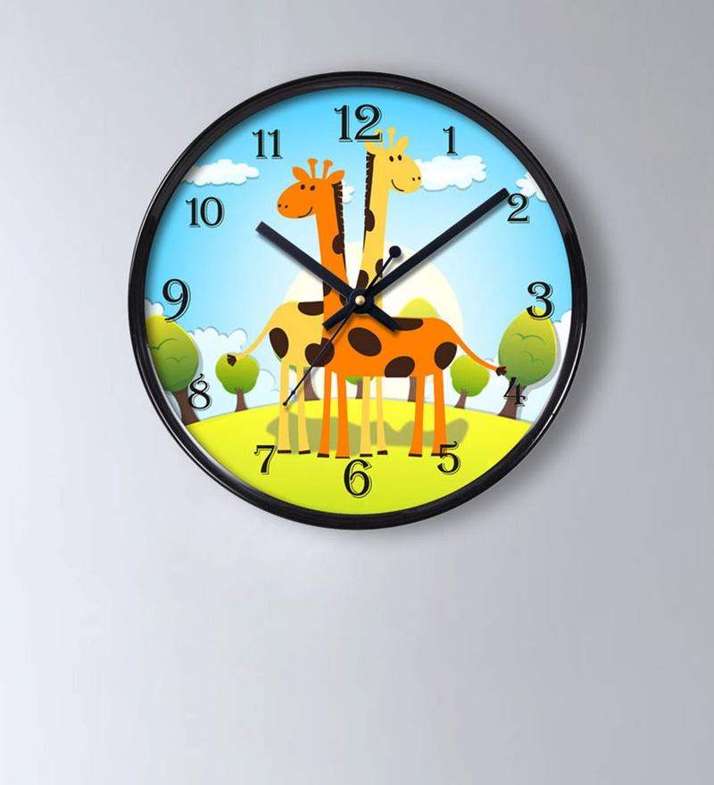 Multicolour Plastic 11 x 2 x 11 Inch Two Giraffe Wall Clock by Random
