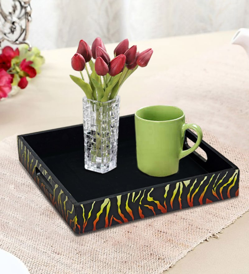Rang Rage Bonfire Black Wood Square Serving Tray