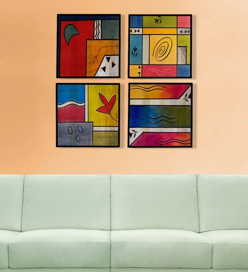 Canvas 16 x 2 x 16 Inch Limited Edition Hand Painted Framed Art Panel - Set of 4 by Rang Rage
