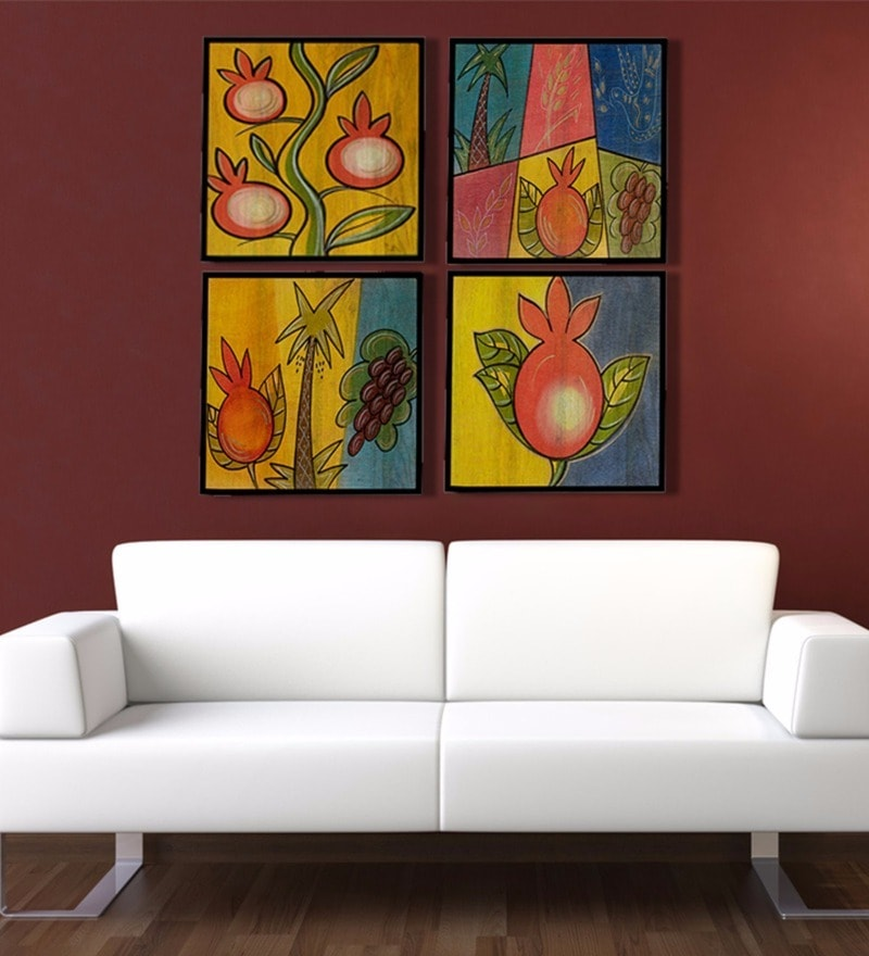 Canvas 12 x 2 x 12 Inch Limited Edition Hand Painted Framed Art Panel - Set of 4 by Rang Rage