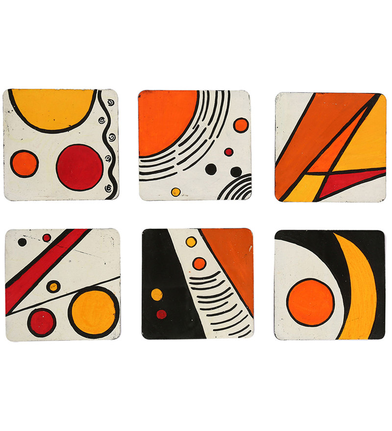 Rang Rage Hand-painted Abstract Universe Coaster Set