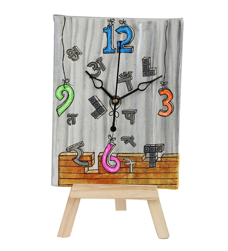 Multicolor Wooden Bricks Breaking Table Clock by Rangrage