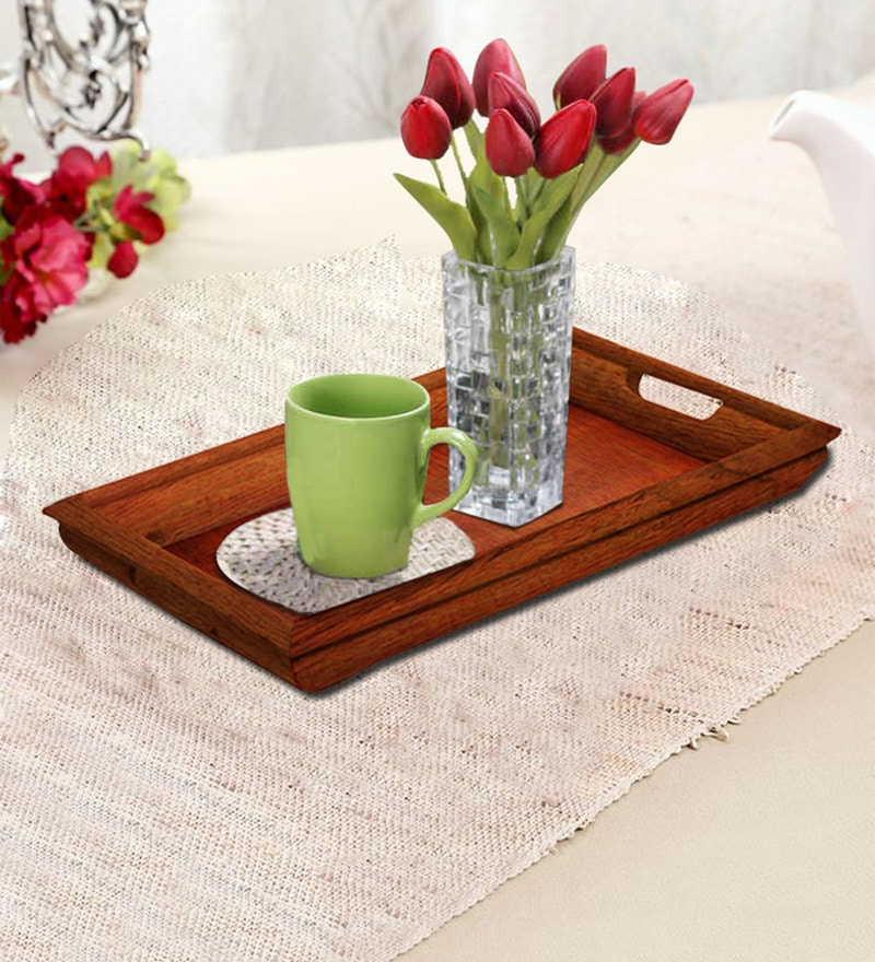 Rang Rage Handpainted Large Brunt Curved Wood Tray