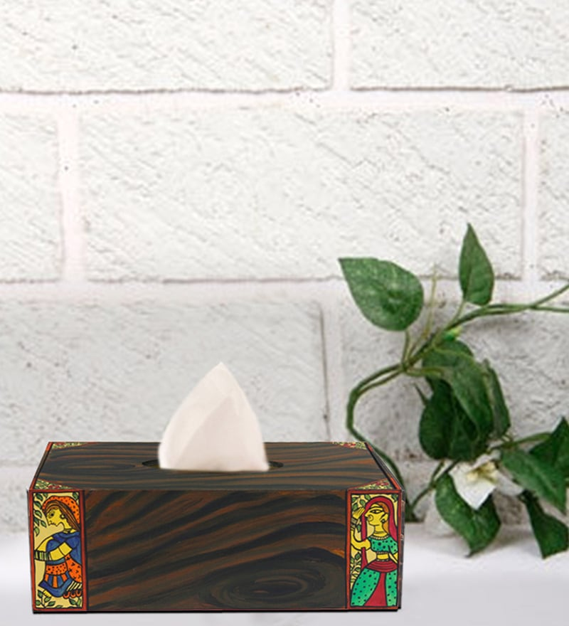 Rang Rage Handpainted Madhubani Folk Multicolour Wood Tissue Box
