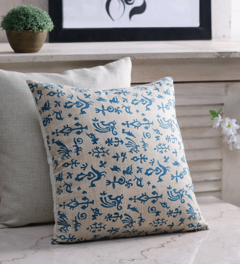 Blue & White Silk 16 x 16 Inch Bhagalpuri Hand Block Printed Cushion Cover by RangDesi