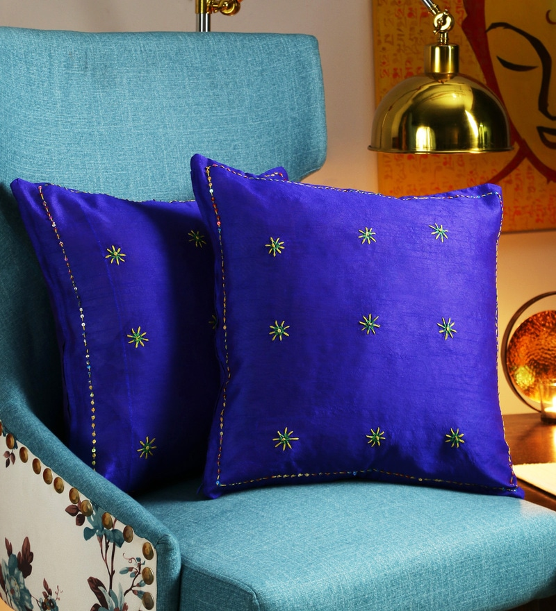 Blue Art Silk 16 x 16 Inch Handembroidered Cushion Cover - Set of 2 by RangDesi