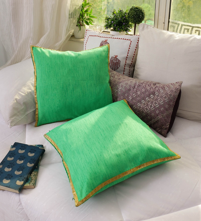 Green Banglore Silk 16 x 16 Inch Solid Cushion Cover - Set of 2 by RangDesi