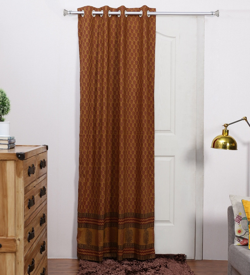 Brown Cotton 84 x 48 Inch Ethnic Door Curtain - Set of 2 by RangDesi
