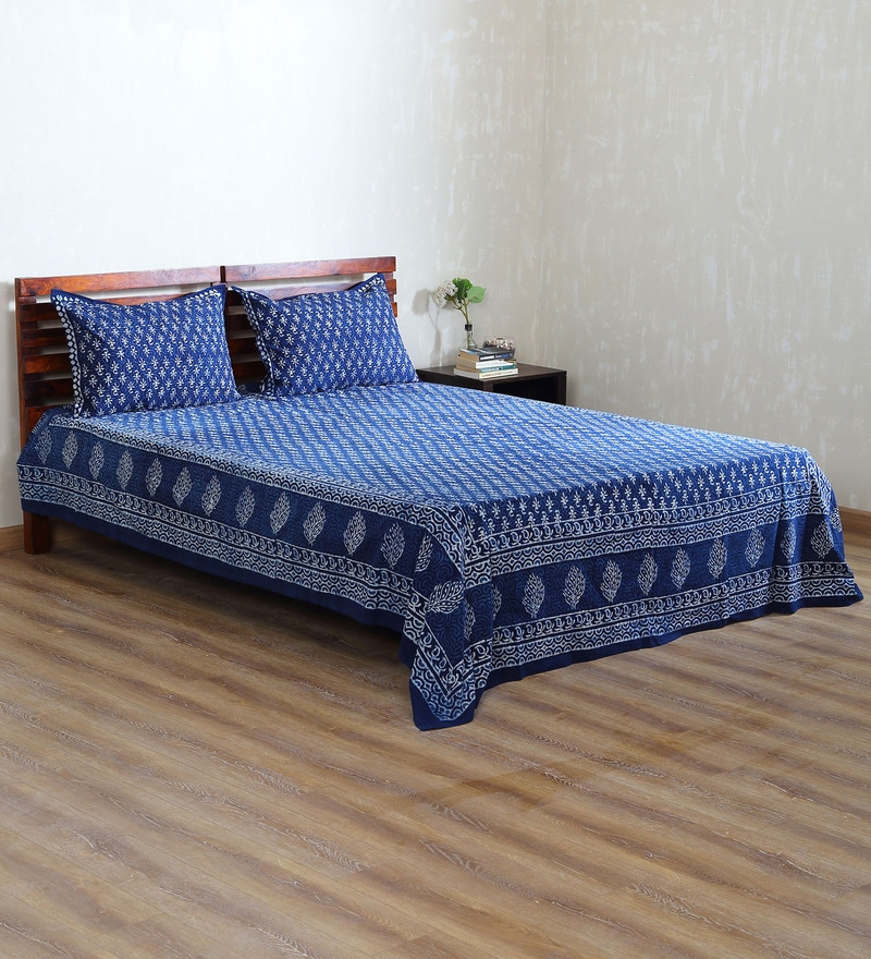 Organic Dyes Indigo Cotton Handblock Printed Double Bed Sheet (with Pillow Covers) by RangDesi
