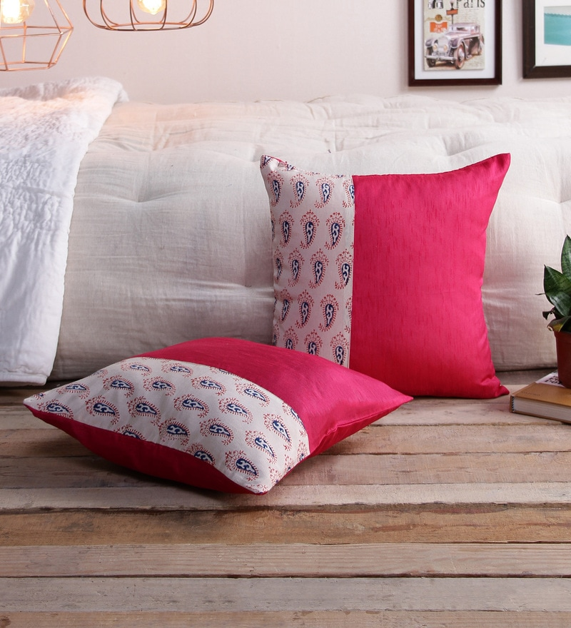 Magenta Silk 16 x 16 Inch Bagh Patch Cushion Covers - Set of 2 by RangDesi