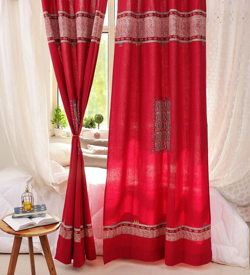 Maroon Cotton 84 x 48 Inch Handcrafted And Hand Embroidered Door Curtain - Set of 2 by RangDesi