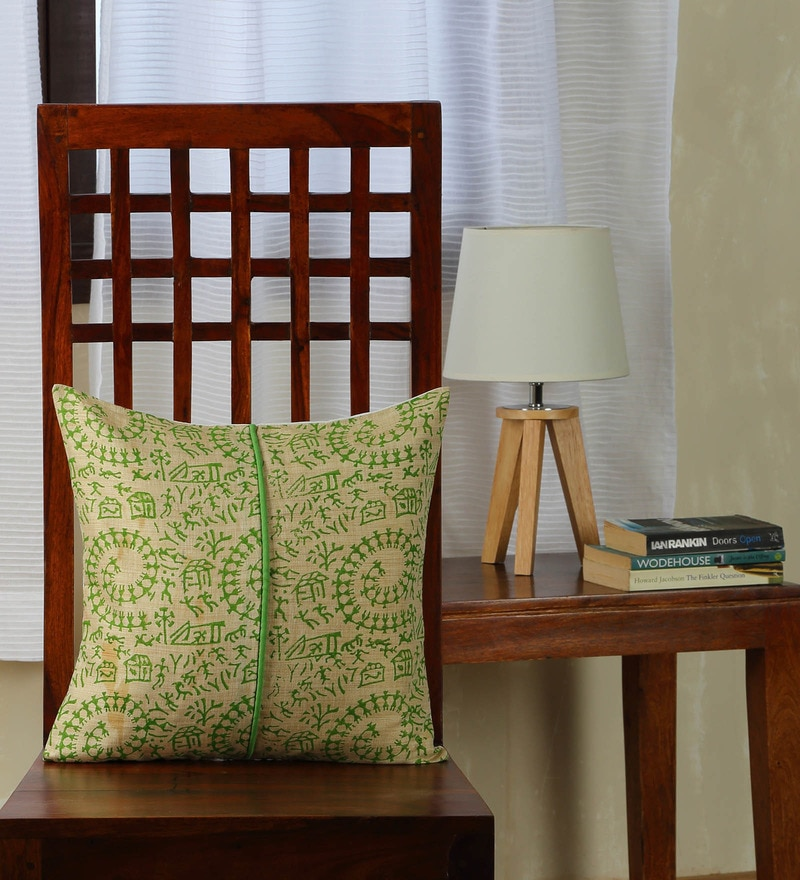 Multicolor Silk 16 x 16 Inch Bhagalpuri Handloom Hand Block Printed Cushion Cover by RangDesi