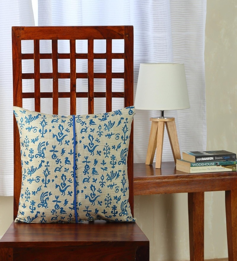 Multicolor Silk 16 x 16 Inch Bhagalpuri Handloom Hand Block Printed Cushion Cover by RangDesi