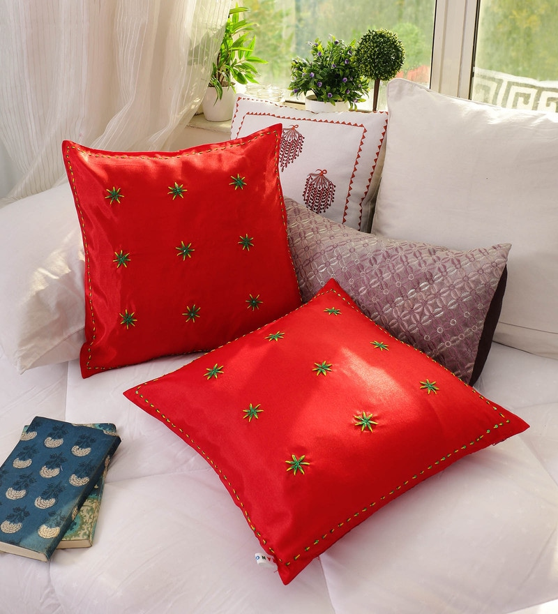 Red Banglore Silk 16 x 16 Inch Hand Embroidered Cushion Cover - Set of 2 by RangDesi