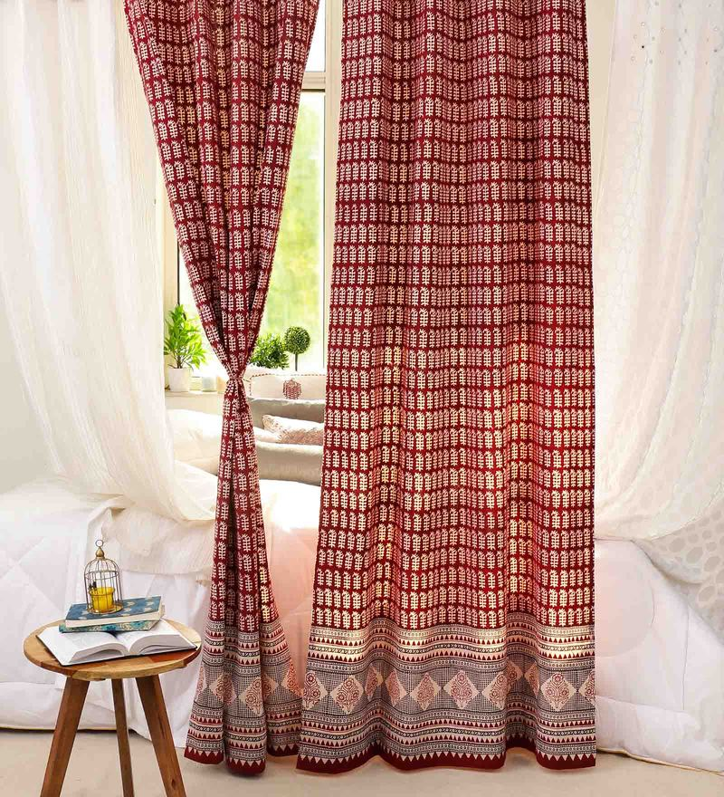 Red Cotton 84 x 46 Inch Eco Friendly Vegetable Dyes Handblock Printed Door Curtain - Set of 2 by RangDesi