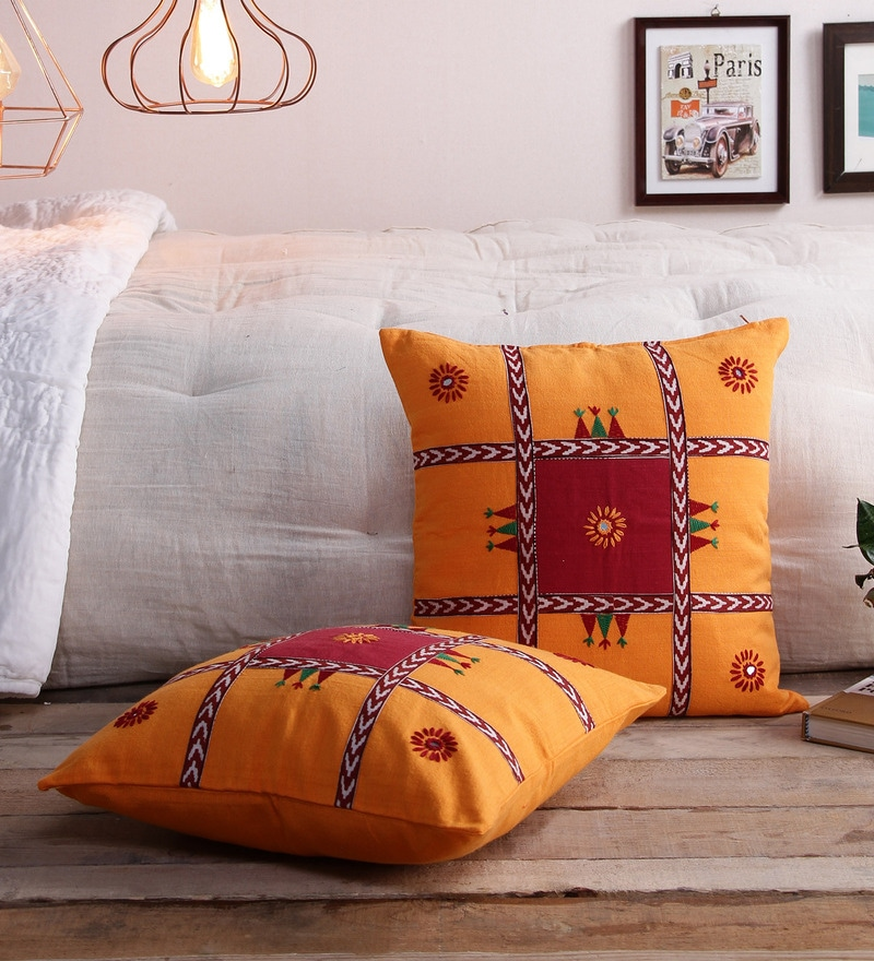 Yellow Cotton 16 x 16 Inch Bagh Patchwork Hand Embroidered Cushion Covers - Set of 2 by RangDesi