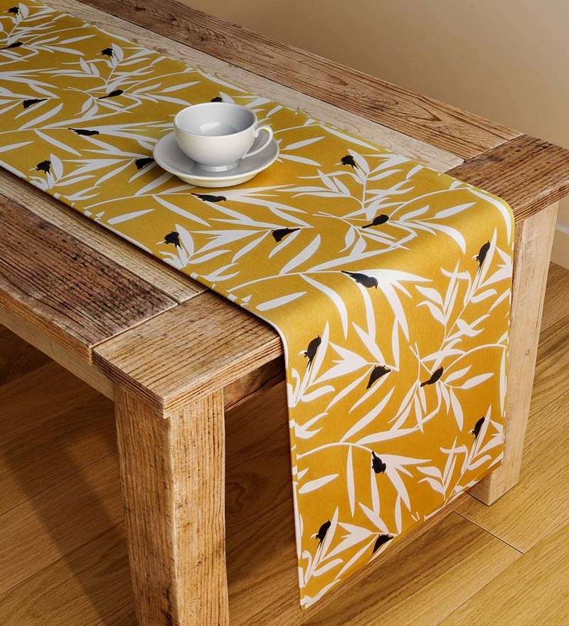 Rangrage Handcrafted Ocre Bequest Yellow & White Cotton Table Runner