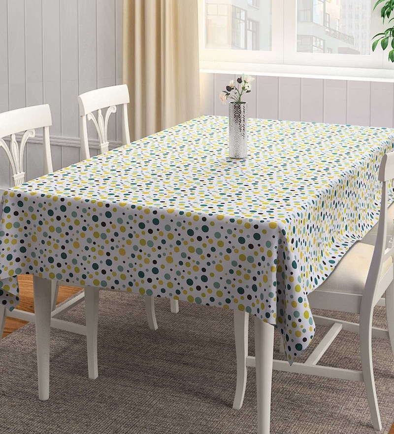 Rangrage Handcrafted Youthful Artistry Green & White Cotton Table Cloth