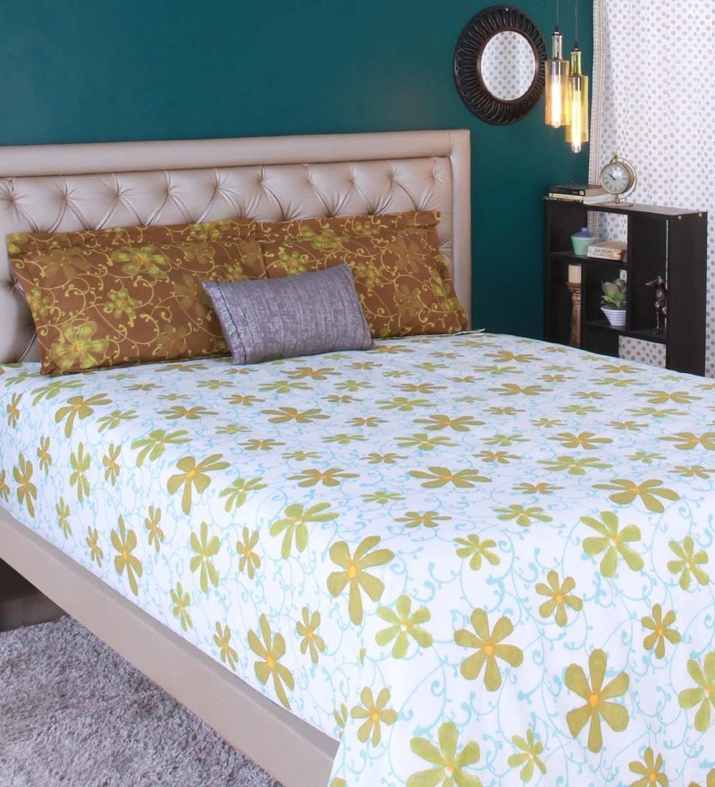 Green 100% Cotton Queen Size Bedsheet - Set of 3 by Raymond Home