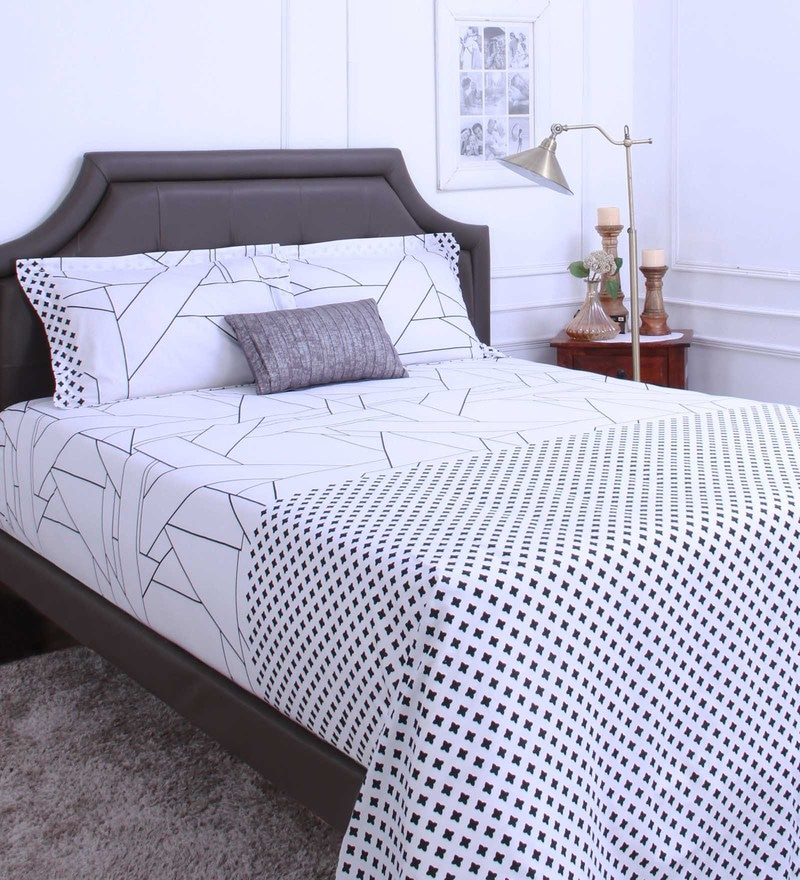 Grey 100% Cotton King Size Bedsheet - Set of 3 by Raymond Home
