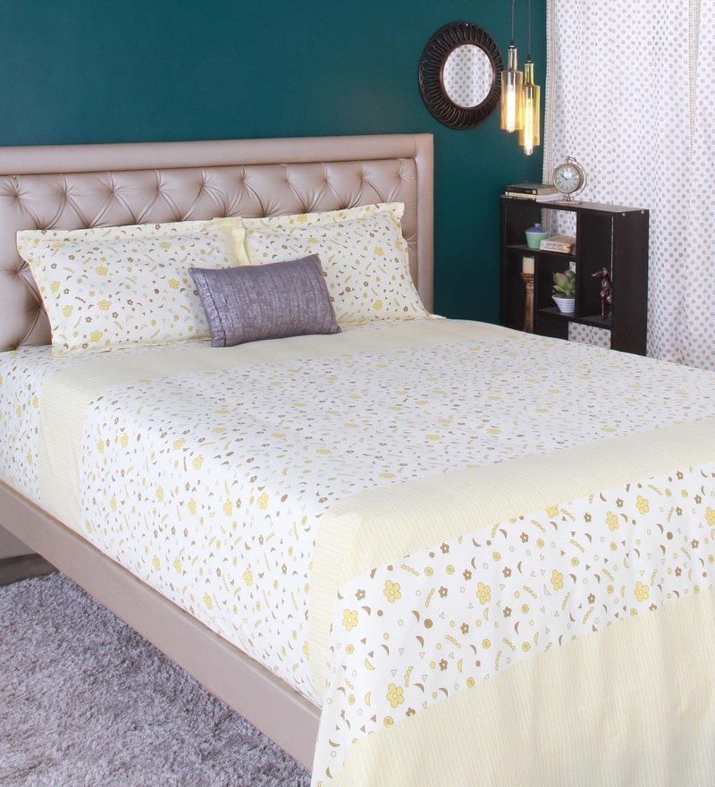 Cream 100% Cotton King Size Bed Sheet - Set of 3 by Raymond Home