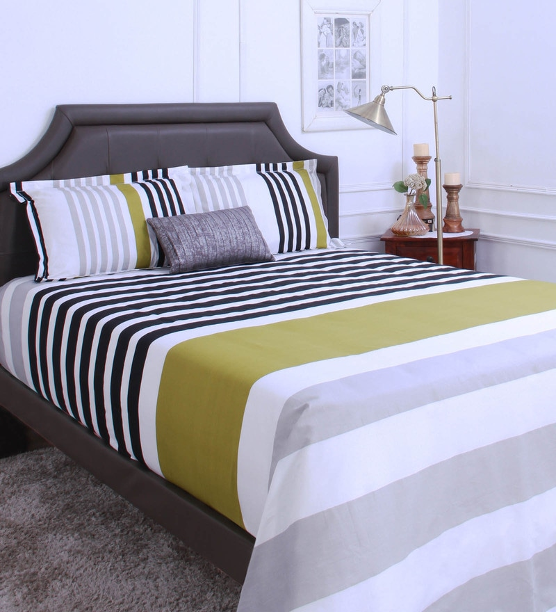 Olive 100% Cotton King Size Bedsheet - Set of 3 by Raymond Home