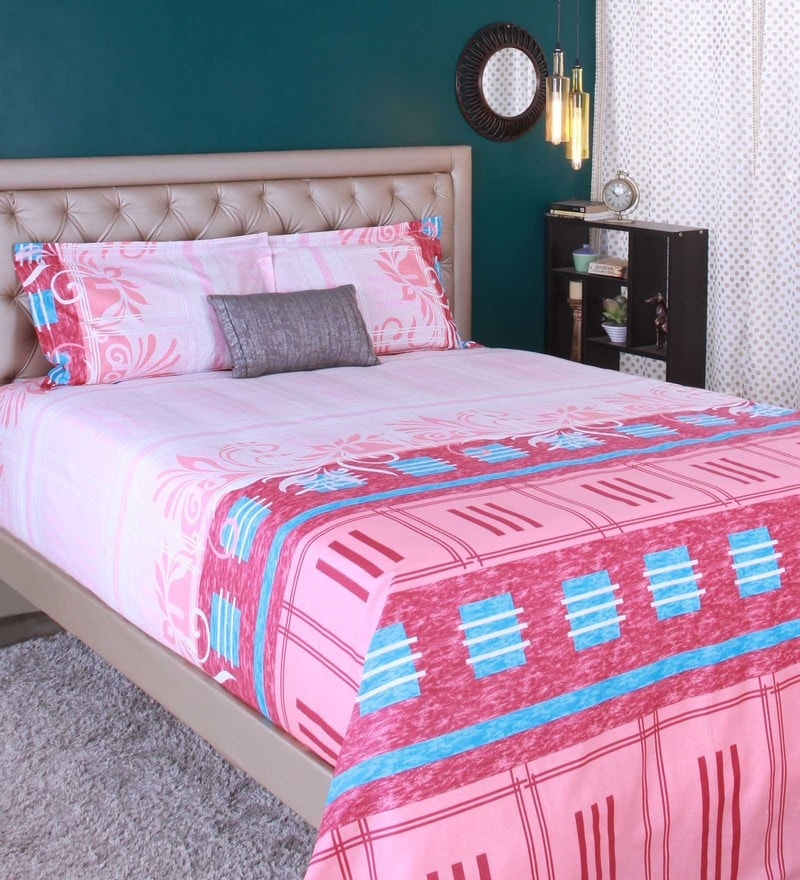 Orange 100% Cotton King Size Bedsheet - Set of 3 by Raymond Home