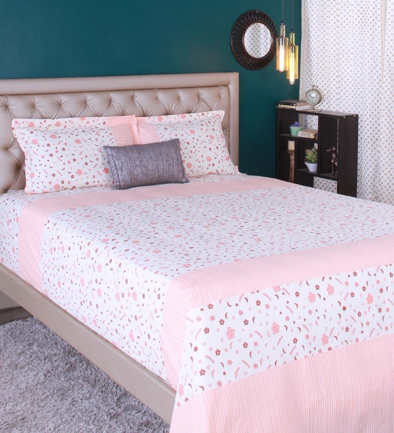 Peach 100% Cotton King Size Bedsheet - Set of 3 by Raymond Home
