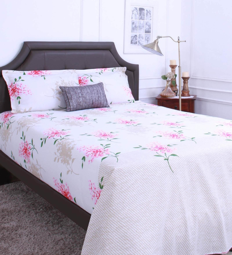 Pink 100% Cotton King Size Bedsheet - Set of 3 by Raymond Home