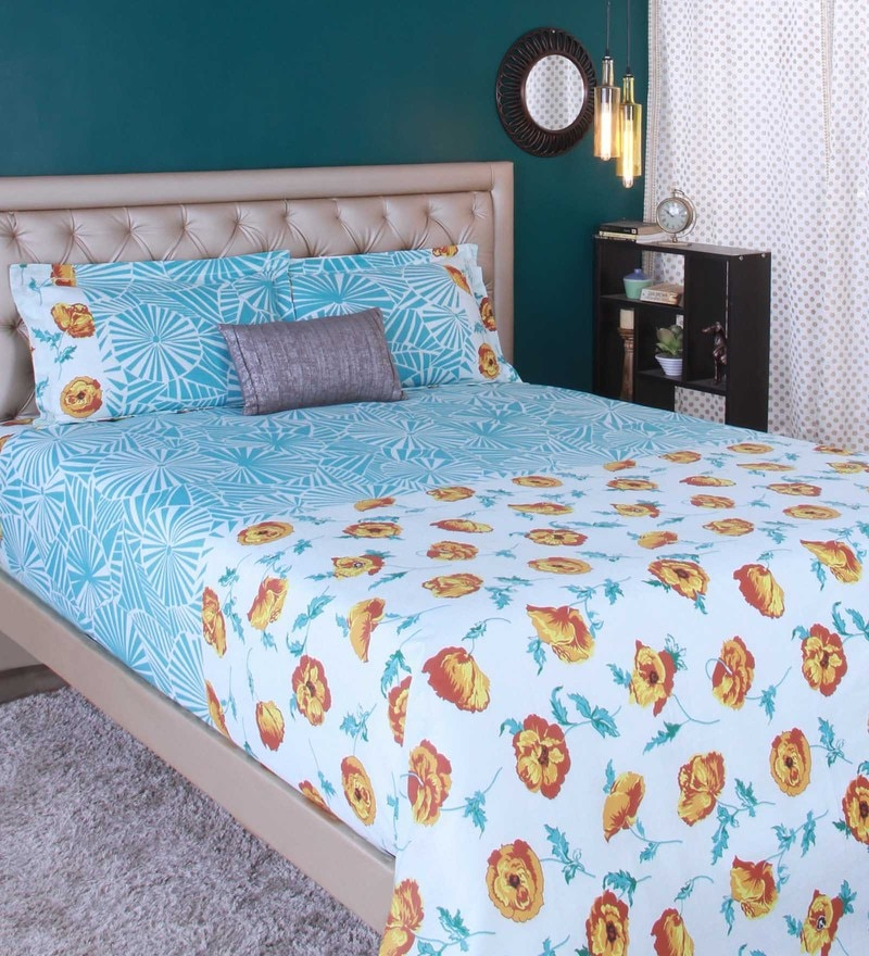 Sea Green 100% Cotton King Size Bedsheet - Set of 3 by Raymond Home