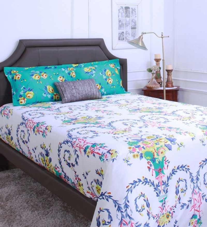Teal 100% Cotton King Size Bedsheet - Set of 3 by Raymond Home