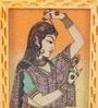 Rajrang Beige & Blue Wooden Lady Gemstone Painted Pen Holder