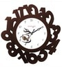 White & Brown Wooden Eco Numbers Wall Clock by Random