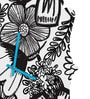 Rang Rage B&W Art Handpainted Quaterfoil Clock
