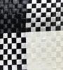 Rang Rage Black & White Poly Silk 16 x 16 Inch Cushion Cover