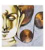 Canvas 16 x 2 x 16 Inch Hand-painted Metallic Buddha Stretched Framed Painting by Rang Rage
