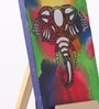 Canvas 8 x 1 x 6 Inch Funky Colorful Flamboyance Stretched Framed Painting with Easel Stand by Rang Rage
