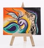 Rang Rage Canvas 8 x 1 x 6 Inch Funky Peacock Treasure Stretched Framed Painting with Easel Stand